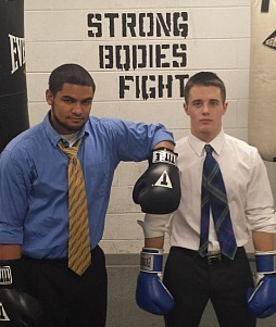 Photo of ESTEEM Alum Niels Seim (right) prior to the Bengal Bouts