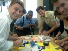 Students in Design Thinking/Business Model Canvas learn how to design a better wallet in a class exercise