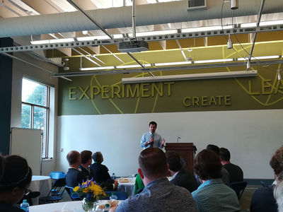 Mayor Pete Buttigieg speaking at the IDEA Center's Innovation Rally on Sept. 29, 2017
