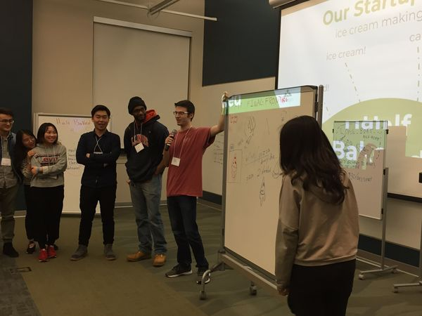 Team pitching idea for Startup Weekend