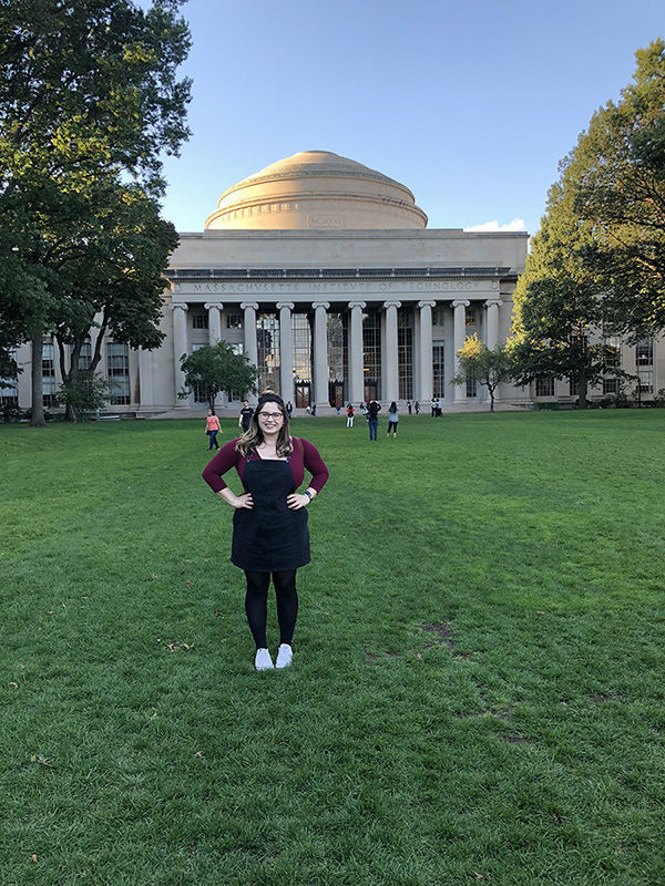 Sara in front of MIT building